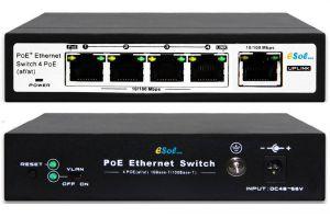 Esol - Switch PoE 4-Port 10/100Mbps IEEE 802.3af/802.3at  + Extra 1-Port