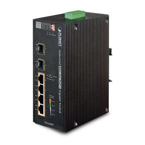 Switch industrial cu temperatura extinsa 4 porturi POE 802.3AT 10/100/1000Mbps + 2 porturi miniGBIC 100/1000Mbps